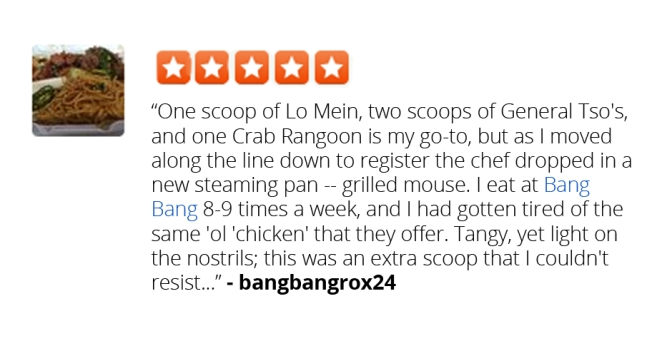 Red Bang Bang Customer Just Happy to Find Actual Meat in Meal